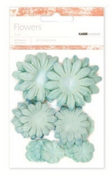 Kaiser scrapbook Flowers asst sizes , Approx 60,  Blue Ice, Scrapify, Australia