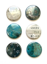 Um Wow, flat backed Buttons, Set 6, Flair, Starry Night, Scrapify, Australia