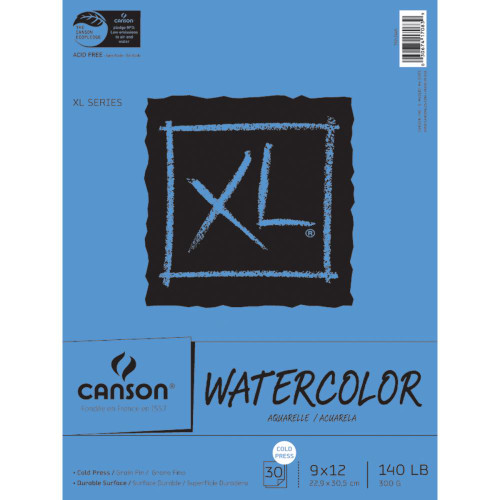 """Canson XL Watercolor Paper Pad 9""""X12"""", 30 sheets, Scapify, Australia"""