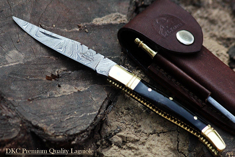 Damascus Folding Laguiole Knive