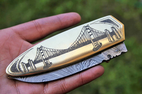 "DKC-69 GOLDEN GATE CABLE CAR BRASS Damascus Folding Pocket Knife Polished Brass 5"" Folded,8.5"" Open 13 Oz very solid sophisticated knife. San Francisco Golden Gate Bridge and Cable Car.. Custom Engraved DKC Knives ™"