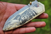 "DKC-68 LADY LIBERTY BONE Damascus Folding Pocket Knife 5"" Folded,8.5"" Open 8 Oz very solid sophisticated knife. Statue of Liberty New York City Custom Engraved DKC Knives ™"
