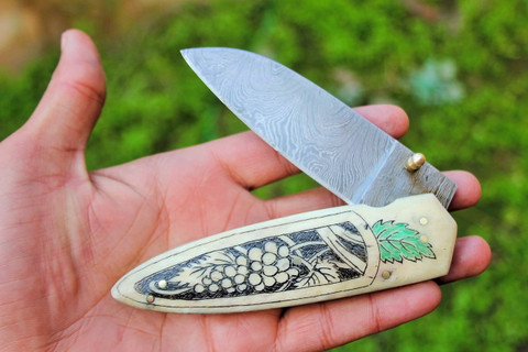 "DKC-64 NAPA GRAPES BONE Damascus Folding Pocket Knife 5"" Folded,8.5"" Open 8 Oz very solid sophisticated knife.Custom Engraved DKC Knives ™"