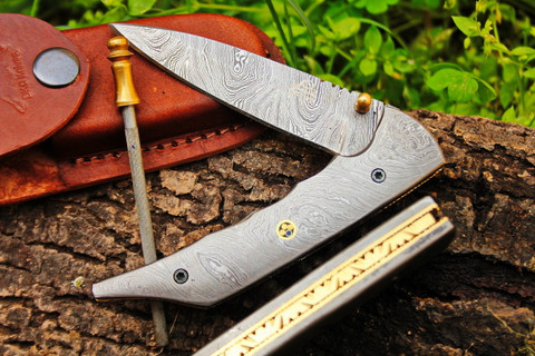 "DKC-123 TECHRON Damascus 4.75' Folded 8.25"" Open 8.4 oz Pocket Folding Knife DKC Knives TM Hand Made Incredible Look and Feel"