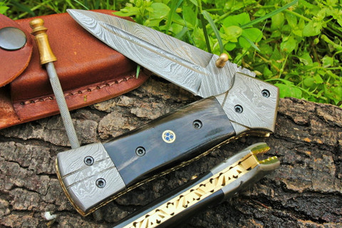"DKC-130-B NIGHT STAR Damascus 4.5' Folded 8"" Open 9.5 oz Pocket Folding Knife DKC Knives TM Hand Made Incredible Look and Feel"