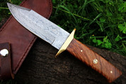 "DKC-517 MERLIN Damascus Bowie Hunting Handmade Knife Fixed Blade 12.5 oz 10.5"" Long"