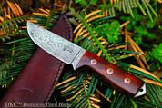 "DKC-73 Survival 1 Damascus Hunting Knife 8"" Long 5.4 oz ! Dark Walnut Burlwood"