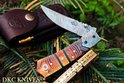 "DKC-136 CHIEF Damascus Folding Pocket Knife 4.5"" Folded 8"" Open 7.3oz 3"" Blade"