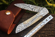 "DKC-37-CB VICTORIAN Damascus Folding Pocket Knife Camel Bone 7.75"" Long, 4.5"" Folded 3"" Blade 4.8oz DKC Knives Hand Made Incredible Look and Feel"