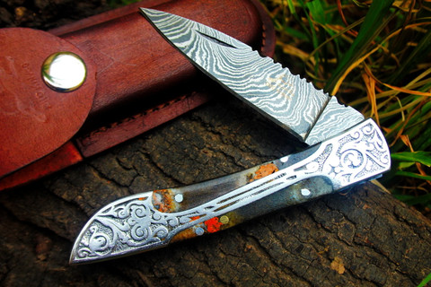 """DKC-37-TS VICTORIAN Damascus Folding Pocket Knife Faux Tortois Shell 7.75"""" Long, 4.5"""" Folded 3"""" Blade 4.8oz DKC Knives Hand Made Incredible Look and Feel"""