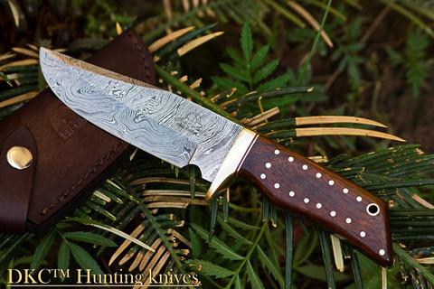 "DKC-500 COUGAR Damascus Hunting Knife 9"" Long, 4"" Blade 7.4 oz ! Dark Walnut Burlwood"