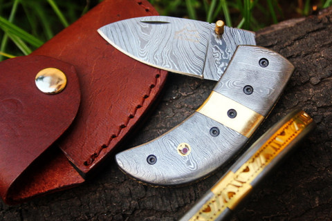 """DKC-91 DAMASCUS THUMB Damascus Folding Pocket Knife 3.5"""" Folded 7.5"""" Open 9oz 2.25"""" Blade High Class Looks Incredible Feels Great In Your Hand And Pocket Black Buffalo Horn, Damascus Bolster Very Solid High Quality Knife DKC Knives TM"""