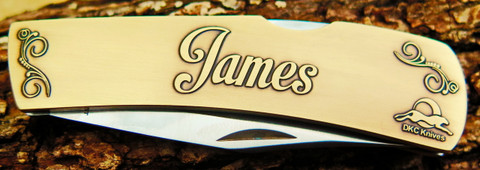 "DKC-1000-B JAMES Personalized Name Knife Custom Hand Engraved Minted In Antique Brass 4.5 oz 6.75"" Long Open 2 7/8"" Blade 4"" Closed NAMANO MINT SERIES"