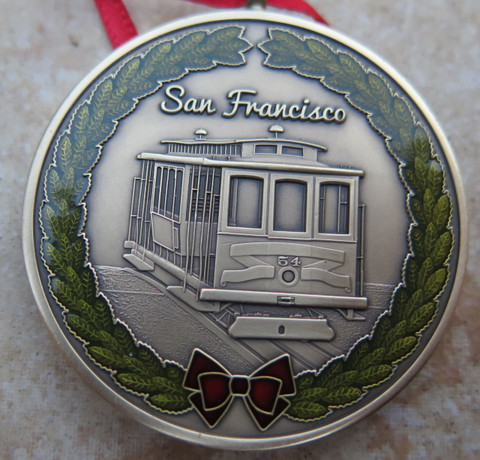"DKC-1603-B San Francisco Christmas Ornament Custom Hand Engraved Minted In Antique Brass 1.75"" Diameter 1.8 oz DKC MINT SERIES"