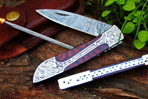 "DKC-37-SE VICTORIAN Damascus Folding Pocket Knife Snake Eyes Wood 7.75"" Long, 4.5"" Folded 3"" Blade 4.8oz DKC Knives Hand Made Incredible Look and Feel"