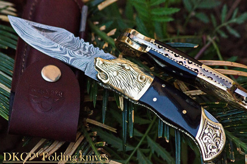 DKC-527 BLACK WOLF Damascus Steel Folding Pocket Knife