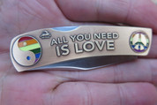 "DKC-1101-B-S ALL YOU NEED IS LOVE Knife Custom Engraved Hand Painted Enamel Work 3"" Closed 2.5"" Blade 5"" Fully Opened MINT SERIES"