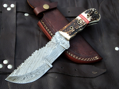 "DKC-708 STAG TRACKER Stag Horn Damascus Survival Prepper Hunting Knife 10"" Long, 5"" Blade 11ozl Damascus Steel Blade DKC Knives TM Very Solid Knife"
