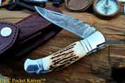 DKC-39 COYOTE Damascus Steel Folding Pocket Knife Stag Horn DKC Knives