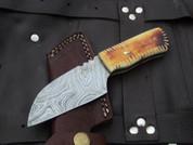 "DKC-722 BUCK BOY Damascus Steel Hunting Knife Damascus Steel Blade 6.3oz 7"" Long 3"" Blade Long DKC Knives TM"