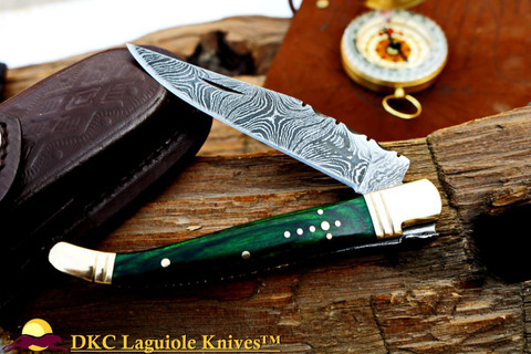 "DKC-313-GR Green Elf Laguiole Damascus Steel Folding Pocket Knife 4"" Folded 7.25"" Open 3oz 3.5 "" Blade (DKC-313)"
