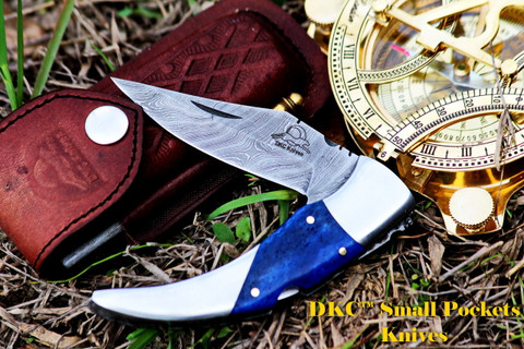 "DKC-110 BLUE SWAGGER 7.5"" Long, 4"" Folded 3.5"" Blade 6.7 oz Damascus Folding Pocket Knife"