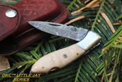 "DKC-58-LJ-CO LITTLE JAY Series CURLY OAK HANDLE Damascus Folding Pocket Knife 4"" Folded 7"" Approx 3.25""Blade a Long 4.7oz oz"