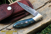 "DKC-58-LJ-GR LITTLE JAY Series GREEN BONE  HANDLE Damascus Folding Pocket Knife 4"" Folded 7"" Approx 3.25""Blade a Long 4.7oz oz"