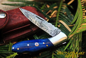 "DKC-58-LJ-BL LITTLE JAY Series BLUE BONE  HANDLE Damascus Folding Pocket Knife 4"" Folded 7"" Approx 3.25""Blade a Long 4.7oz oz"