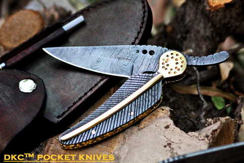 "DKC-111 ARROW CLASSIC Damascus Steel Folding Pocket Knife 6"" Folded 8.5"" Long 3"" Blade10oz"