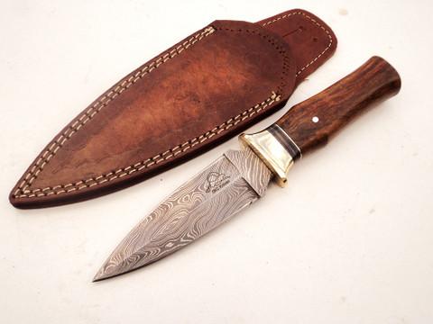 """DKC-825-DS KILTMO Boot Knife Damascus Steel Knife 9.25"""" Overall 4.75"""" Blade 6.7 oz Hand Made DKC Knives (DKC-825-DS)"""
