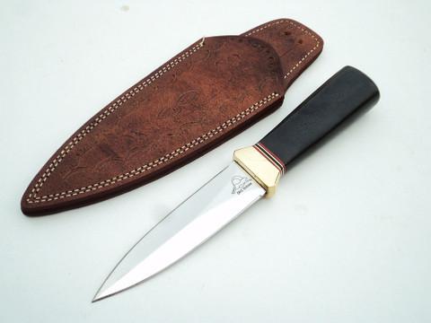 "DKC-833-BL-440c  VIPER Black  Boot Knife 440c Stainless Steel Knife 9.25"" Overall 4.75"" Blade 6.7 oz Hand Made DKC Knives"