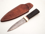 "DKC-833-BL-DS VIPER Black Boot Knife Damascus Steel Knife 9.25"" Overall 4.75"" Blade 6.7 oz Hand Made DKC Knives (DKC-833-BL-DS)"