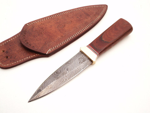 "DKC-833-BR-DS VIPER Brown Boot Knife Damascus Steel Knife 9.25"" Overall 4.75"" Blade 6.7 oz Hand Made DKC Knives (DKC-833-BR-DS)"