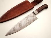 """DKC-830 Indigo Chef Knife Damascus Steel Knife DKC Knives (TM) 12 oz 8"""" Blade 12.75"""" Overall"""