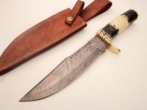 "DKC-819 Capella Bowie Damascus Steel Knife DKC Knives (TM) 15 oz 8"" Blade 12.75"" Overall (DKC-819)"