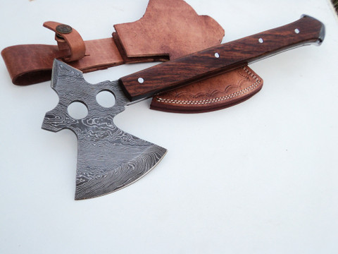"DKC-855 Geronimo Axe Damascus Steel DKC Knives (TM) 18 oz 13.5"" Long 5"" Width Axe Blade"