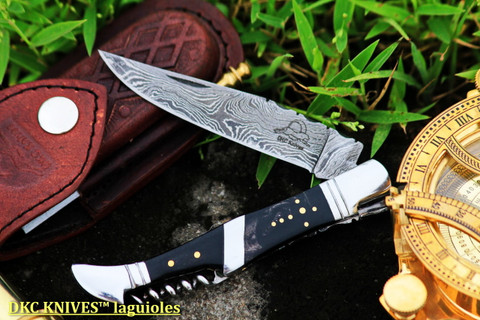 "DKC-807 FRIZANTE Damascus Steel Laguiole Corkscrew Style Pocket Knife 5"" Folded 8.5"" Open 3.5oz 3.5"" Blade"