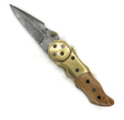 "DKC-633-ow Galaxy Damascus Steel Folding Knife DKC Knives (TM) 7.7 oz 3.25"" Blade 7.5"""" Overall 4.5"" Closed Olive Wood Handle"