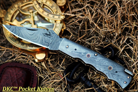"DKC-200 MOONRAKER Pocket Folding Damascus Hunting Knife 8"" Long, 3.25"" Blade 4.75"" Folder 10oz DKC Knives"