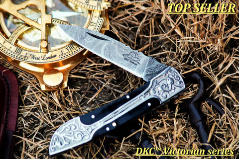 "DKC-37-BH VICTORIAN Damascus Folding Pocket Knife Buffalo Horn 7.75"" Long, 4.5"" Folded 3"" Blade 4.8oz DKC Knives (DKC-37-BH)"