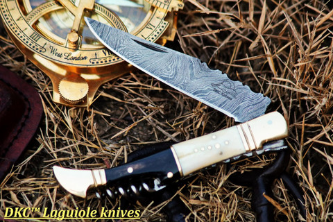 "DKC-778 LOMBARD Damascus Folding Laguiole Style Pocket Knife 4.5"" Folded 8.5"" Long 3.6oz oz"