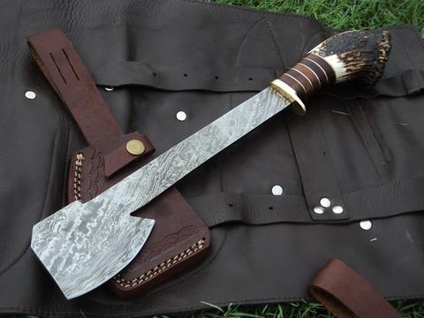 "DKC-710 NORDIC AX 22 oz 3.5"" Blade 16"" Long Damascus Hunting Knife Ax Stag Horn DKC Knives (DKC-710)"