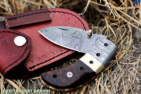 DKC-43-SW Snake Wood Thumb Damascus Steel Pocket Folding Knife