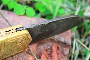 "DKC-46 GOLDEN RAM (medium) Damascus Folding Pocket Knife Polished Brass 5"" Folded, 8.5"" Open, 12oz Custom Engraved DKC KNIVES"