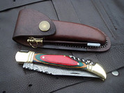 "DKC-785 RAINBOW Laguiole Damascus Steel Folding Pocket Knife Colored Ebony Wood 3.7 oz 8.5"" long 3.5"" Blade DKC KNIVES"