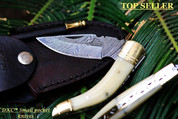 "DKC-530 BODELLI Damascus Steel Folding Pocket Knife 4.5"" Folded 7.5 "" Long 3"" Blade 5 oz High Class Hand Made DKC Knives"
