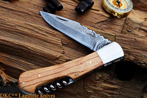 "DKC-771 CHABOT Damascus Steel Folding Laguiole Style Pocket Knife 4.5 oz 8.5"" long 3.5"" Blade DKC KNIVES (DKC-771)"