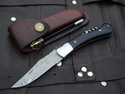 "DKC-781 SONOMA Laguiole Damascus Steel Folding Pocket Knife Black Bone 3 oz 7.5"" long 4"" Blade DKC KNIVES"
