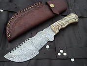 "SALE DKC-700 RUSTIC TRACKER Damascus Survival Hunting Knife Bone Horn Damascus Steel Blade 11oz 10"" Long 5"" Blade Long DKC Knives"